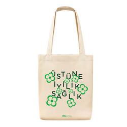 - 100. Yıl Temalı Bez Çanta - Üstüne İyilik Sağlık