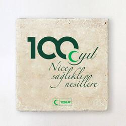 Yeşilay - 100. Yıl Temalı Taş Bardak Altlığı
