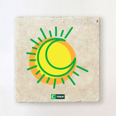 Taş Bardak Altlığı - Hilal ve Güneş