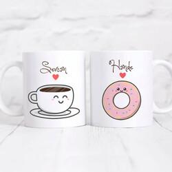 - Kişiye Özel 2'li Kupa- Kahve ve Donut