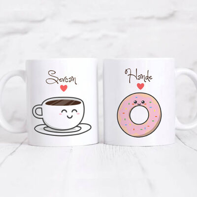 Kişiye Özel 2'li Kupa- Kahve ve Donut
