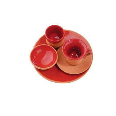 Toprak Servis Tabaklı Fincan Seti - Kırmızı