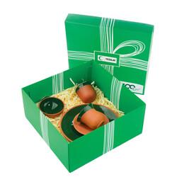 Yeşilay - Toprak Servis Tabaklı Fincan Seti - Yeşil