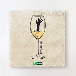 Yeşilay - Taş Bardak Altlığı - Tutsak Olma Alkol Bağımlılığı